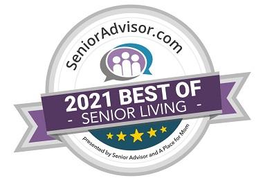 Award badge for the 2021 SeniorAdvisor Best of Senior Living.